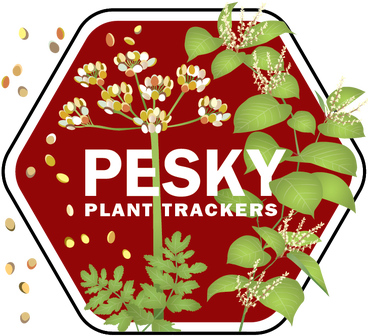 Pesky Plant Trackers badge, plants and text